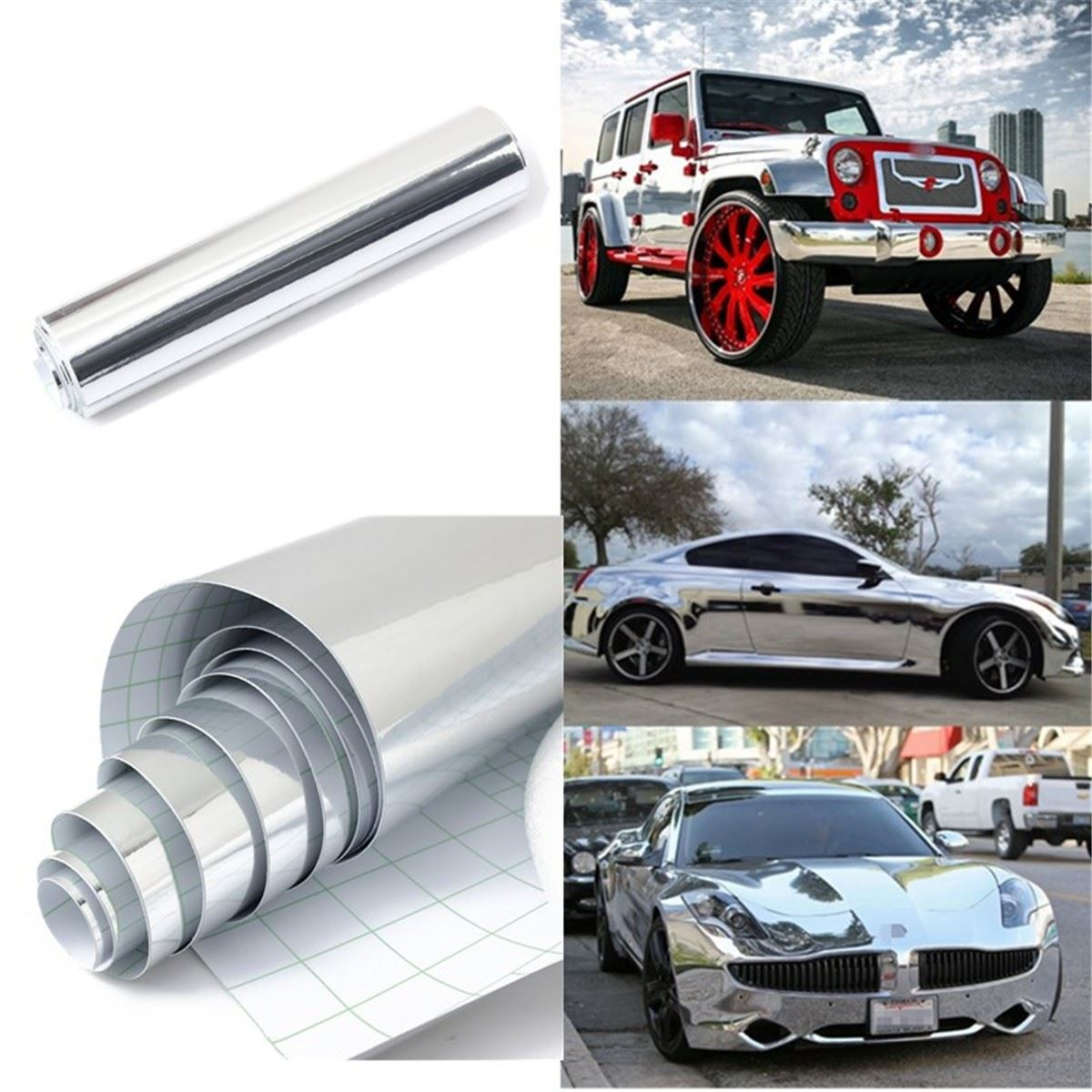 152 x 20cm Silver Chrome Waterproof UV Protected Auto Mirror Vinyl Wrap Film Car Sticker Decal Sheet 8x60 inch наматрасники candide наматрасник водонепроницаемый waterproof fitted sheet 60x120 см