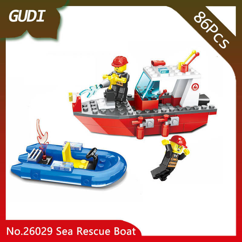 Doinbby Store 26029 86Pcs Fire Series Sea Rescue Boat Model Building Kits Blocks Set Bricks Children For Toys Wange Gifts wange louvre of paris building blocks set model small architecture series 2017 classic educational toys for children gifts