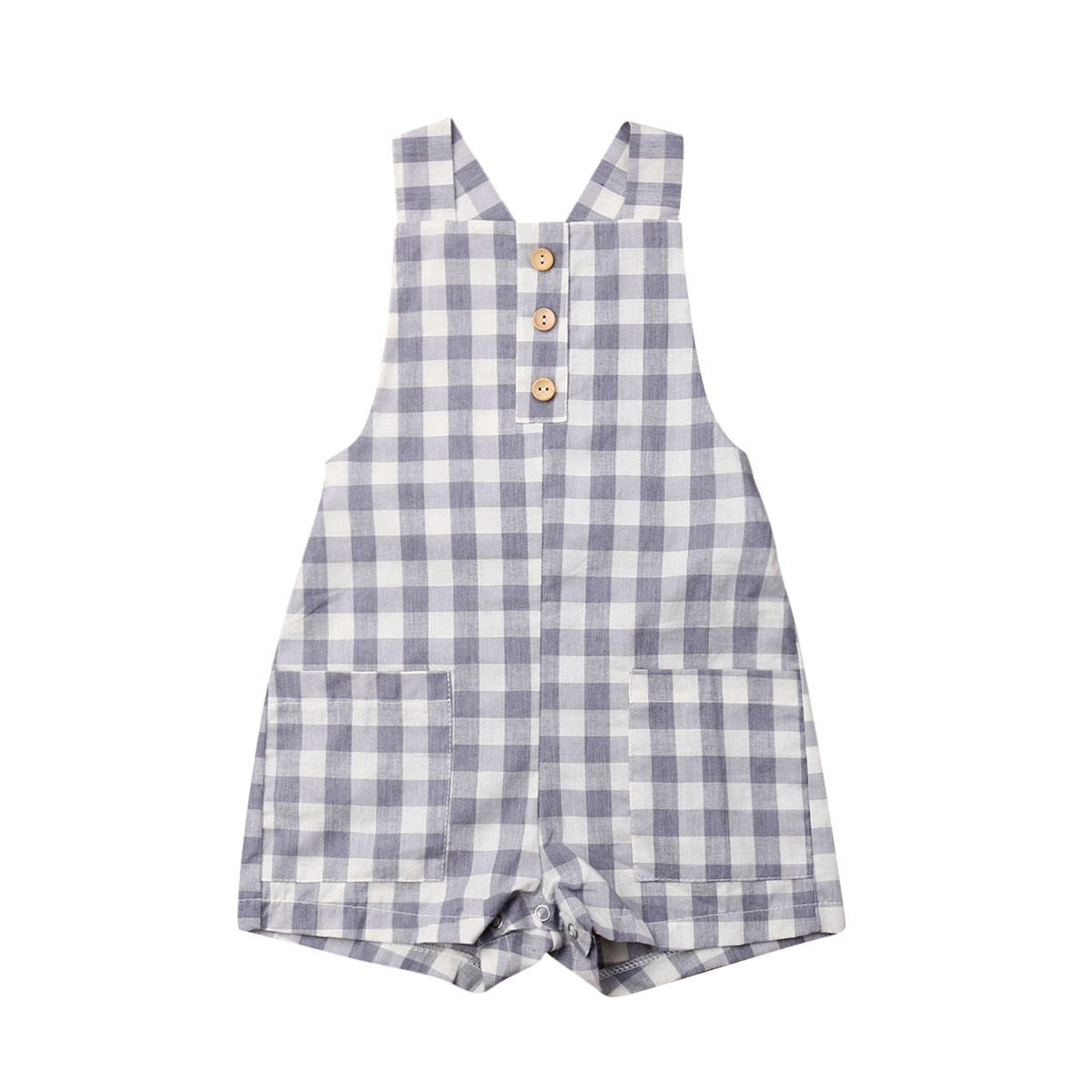 Summer Newborn Baby Boy Girl Sleeveless Back Cross Plaid Pocket   Romper   Jumpsuit Playsuit Outfits Clothes 0-24M