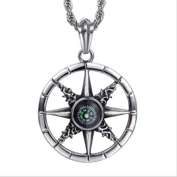 Exquisito de alta calidad de acero titanium diseño único al aire libre brújula colgantes retro collar de cadena de joyería masculina n0625