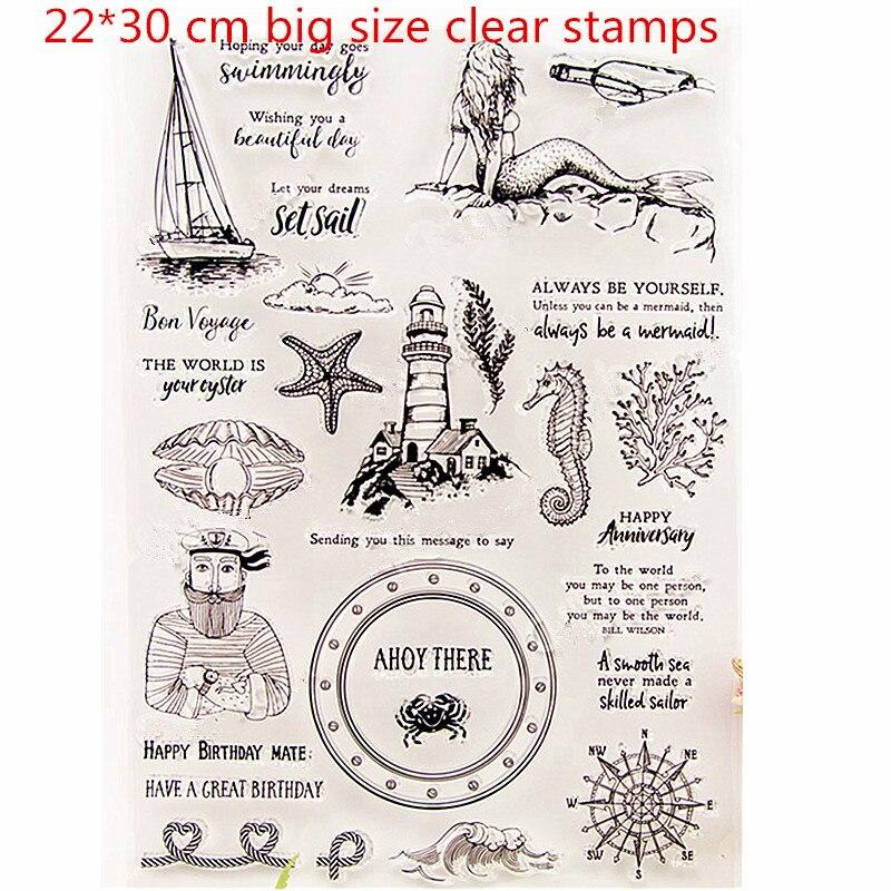 Tamanho grande animal de mar 22*30 cm Silicone Transparente Selo selos Claro sereia selo para Scrapbooking selo DIY Decorativa selo
