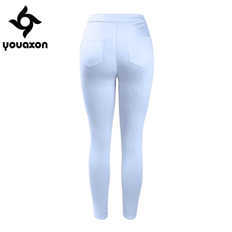 1888 Youaxon Women`s High Waist White Basic Casual Fashion Stretch Skinny Denim Jean Pants Trousers Jeans For Women #4