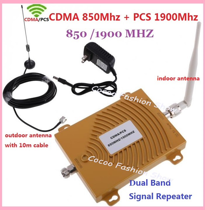 Dual band 3G CDMA GSM PCS 850/1900MHz Cellular signal booster , Cell Phone Signal Amplifier Booster Repeater with antenna