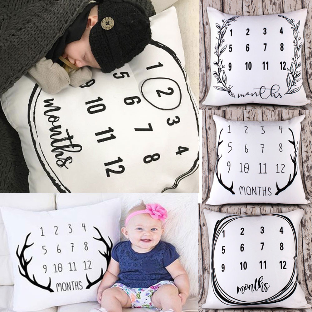 2018 Record Baby Months Throw Pillow Cases Cafe Sofa Cushion Cover 50*50CM For Sofa chair Home Decor
