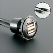 22mm mounting diameter metal Double USB FEMALE A to MALE A with 60cm wiring