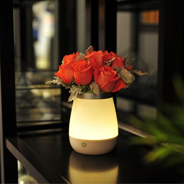 Contemporânea LEVOU Luz para a Flor Vaso Mesa de Luz Noite Decoração Da Lâmpada de Iluminação Controle de Toque