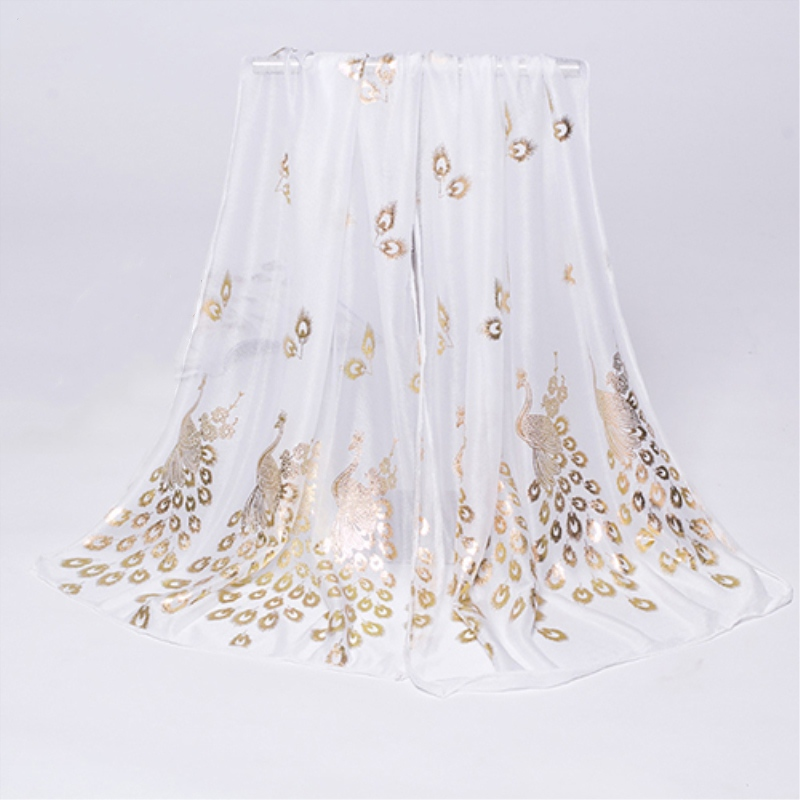 Women Fashion Peacock Printed Chiffon   Scarves   Long   Wrap   Shawl Stole Gift