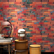 Modern 3D Brick Wallpapers Roll Personalized Vintage Red Wall Murals Covering for Shop Bar Background Walls papier peint