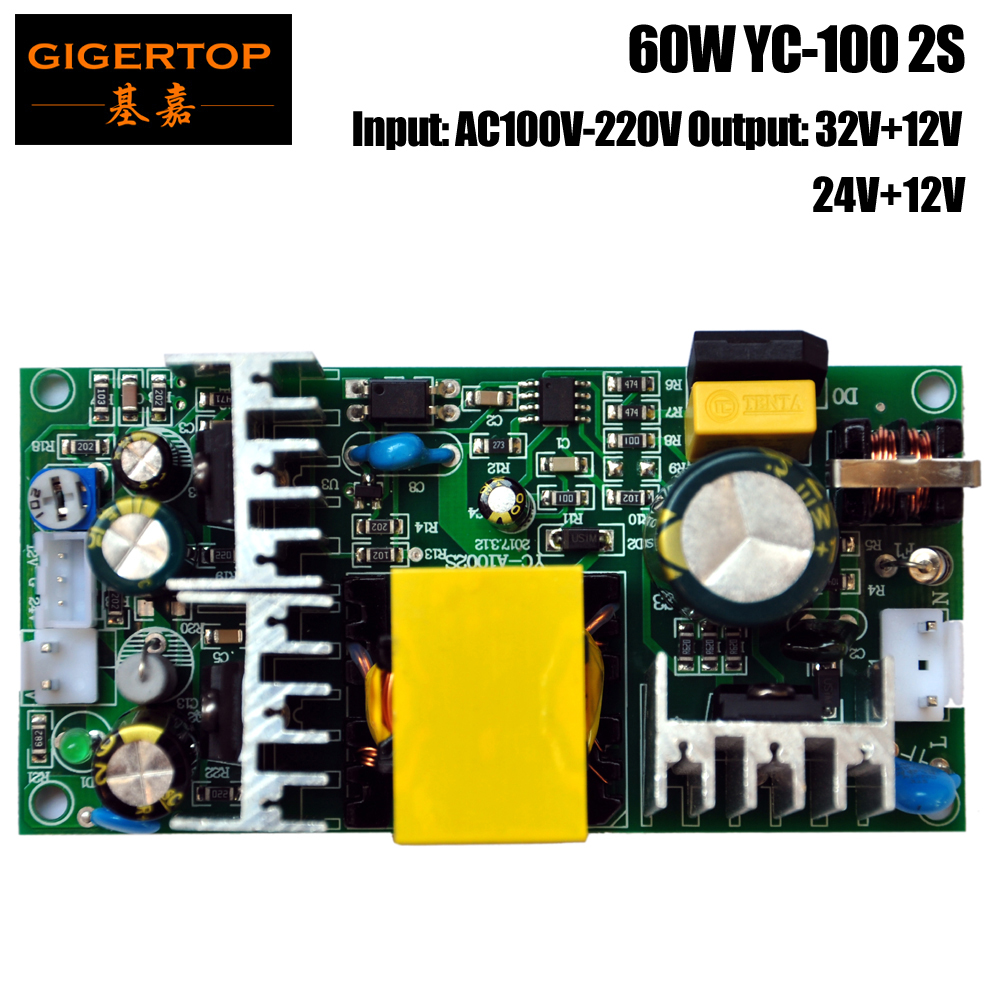 цена на TIPTOP YC-100 2S 60W Power Supply for 10W Led Moving Head Light/Mini 30W Spot Led Moving Head 32V+12V Output Power AC100V-220V