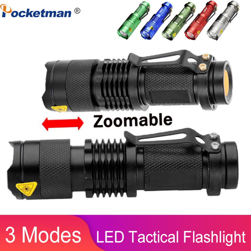 High-quality Mini LED Flashlight Q5 2000LM Powerful Flashlight LED Laterna 3Modes Zoomable Portable 6Colors Torch