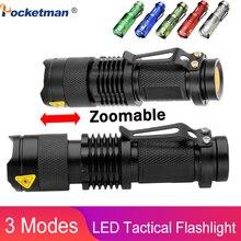 באיכות גבוהה מיני LED פנס Q5 2000LM עוצמה פנס LED Laterna 3 מצבי Zoomable נייד 6 צבעים לפיד