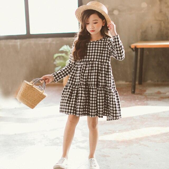 2018 детское клетчатое платье для девочек, демисезонные хлопковые платья с длинными рукавами для подростков, одежда для девочек 3, 4, 5, 6, 7, 8, 9, 10, 11, 12 лет