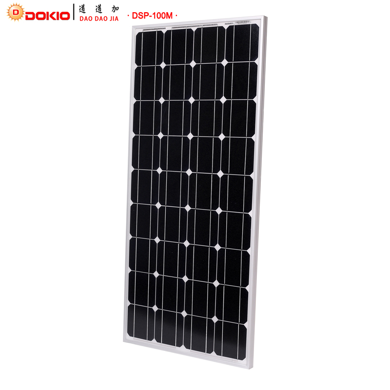 Dokio Brand Solar Panel China 100W Monocrystalline Silicon 18V 1175x530x25MM Size Top quality Solar battery China #DSP-100M