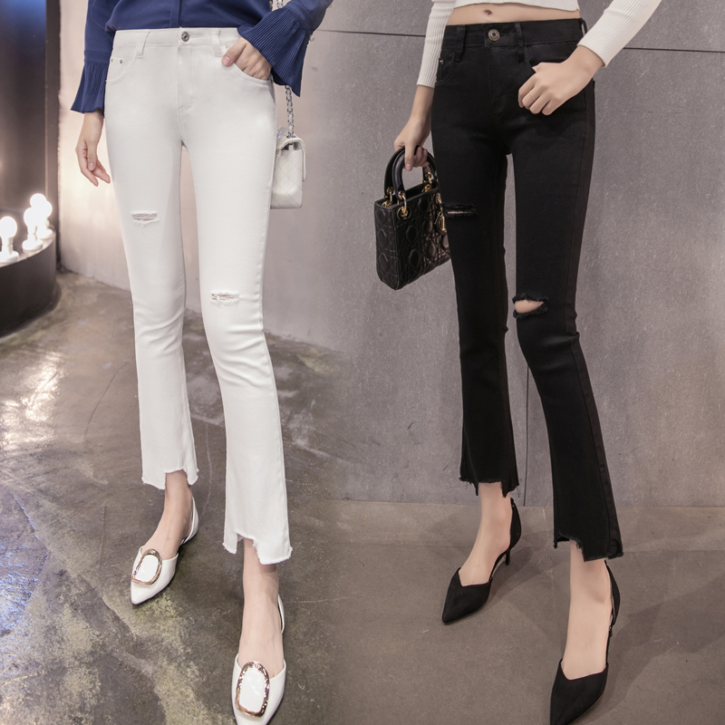 Spring and summer high waist jeans female bell bottom slim flash tassel elastic hole Ninth pants