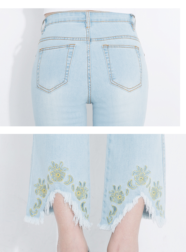KSTUN Fashion 2018 Jeans for Women High Waist Boot Cut Light Blue Flared Embroidery Elastic Vintage Denim Pants Mujer Plus Size 20
