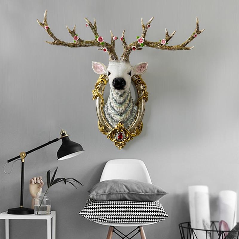 Resin Deer Head Sculpture Model Home Wall Hanging Elk Statue Decoration Ornaments Crafts Corridor Wall Hanging