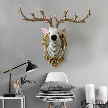 Resin Deer Head Sculpture Model Home Wall Hanging Elk Statue Decoration Ornaments Crafts Corridor Wall Hanging Emulate Statue