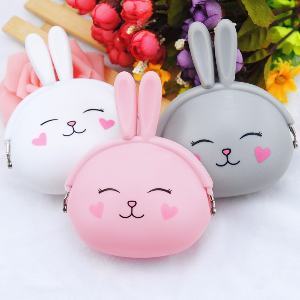 Fashion Women Coin Purse Cute Rabbit Printing Ladies Small Purse Coin Two Metal Button Pocket Coin Pouch Key Credit Card Holder thinkthendo 3 color retro women lady purse zipper small wallet coin key holder case pouch bag new design
