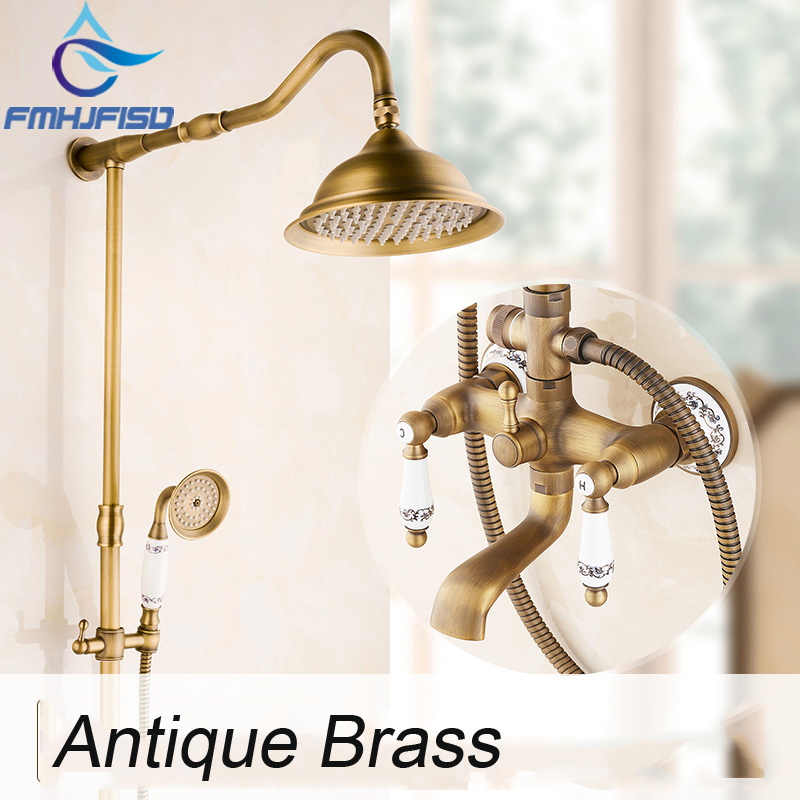 Free Shipping Wholesale And Retail Promotion NEW Luxury Antique Brass Rain Shower Faucet Ceramic Style Rain Shower Mixer Tap wholdsale and retail luxury brass