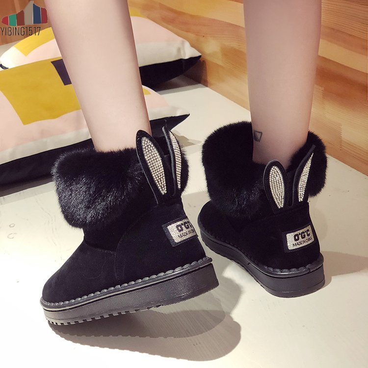 Women Boots Genuine Leather Real Fox Fur Brand Winter Shoes Warm Black Round Toe Casual Plus Size Female Snow Boots 19