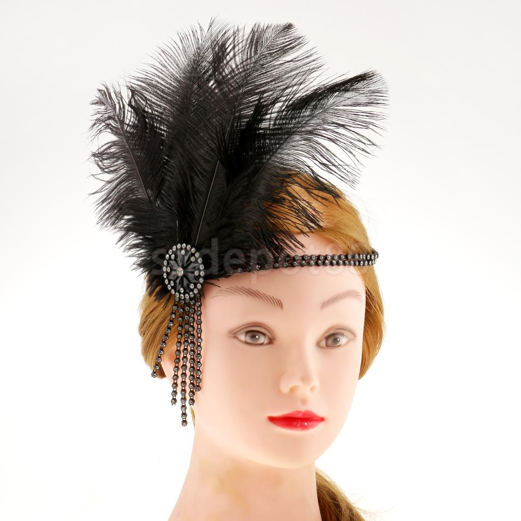 Senhoras do vintage Preto Traje Flapper Charleston Headband Da Pena 20s