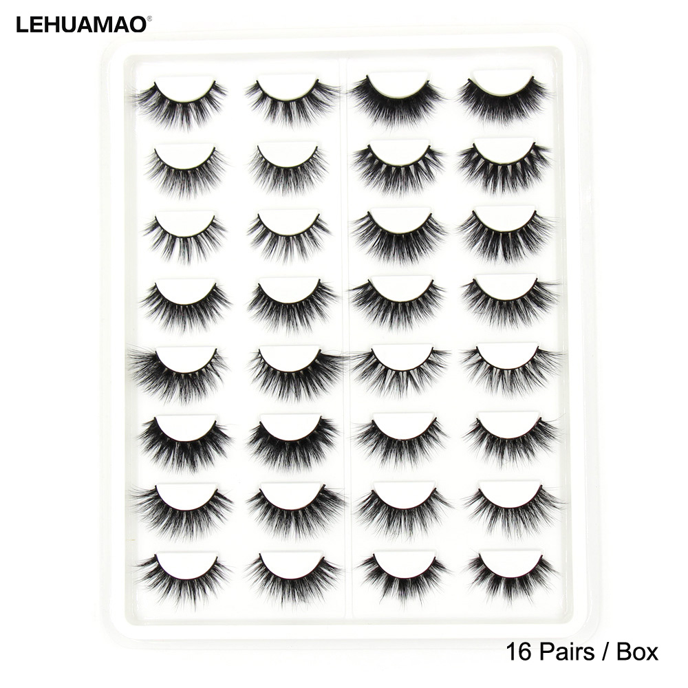 LEHUAMAO 16Pairs Eyelashes 3D Mink Eyelashes Natural Long False Eyelashes Cruelty Free Volume Lashes Different Styles Reusable