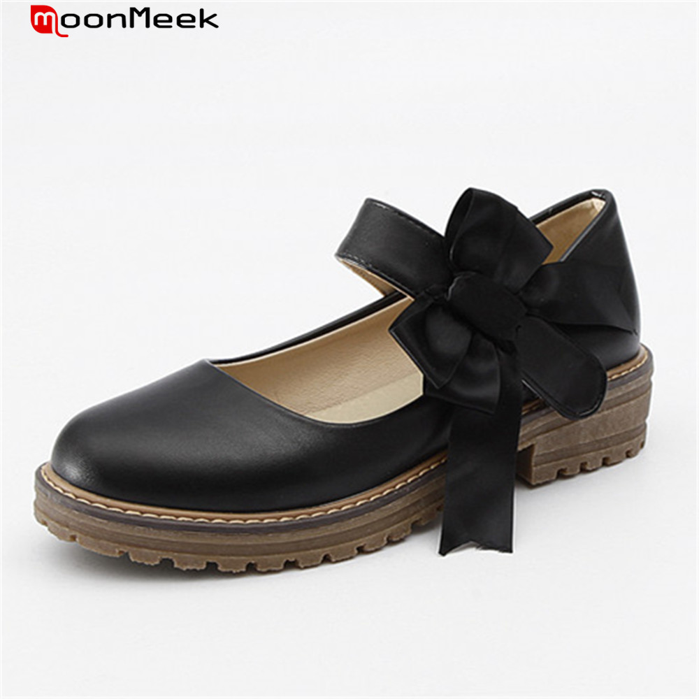 MoonMeek hot prevail spring autumn sweet pumps women shoes with butterfly knot round toe med square heel ladies shoes egonery shoes 2017 spring and autumn concise wedges butterfly knot pumps simple lace up sweet round toe women fashion high heels