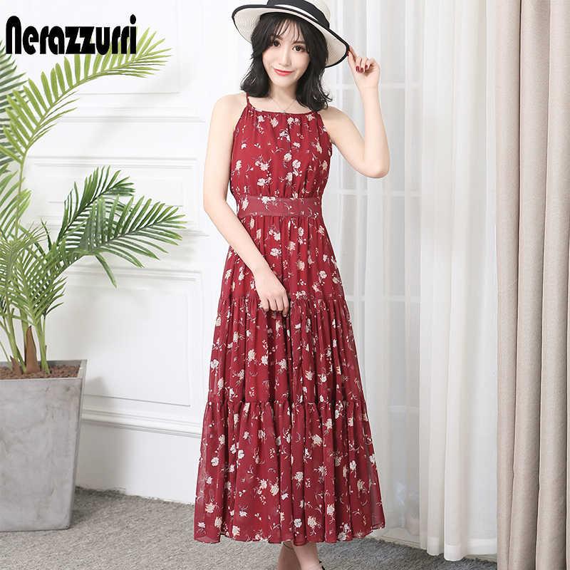 Nerazzurri летнее платье женское длинное Макси размера плюс элегантное Плиссированное шифоновое пляжное платье с бретельками 2019 4xl 5xl