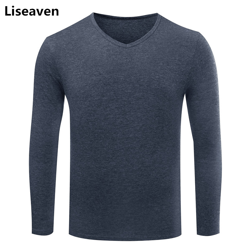 Liseaven Men Full Sleeve T-Shirt Slim Fit tshirt Solid Color T Shirts Male V-Neck Cotton Tee Men Tops