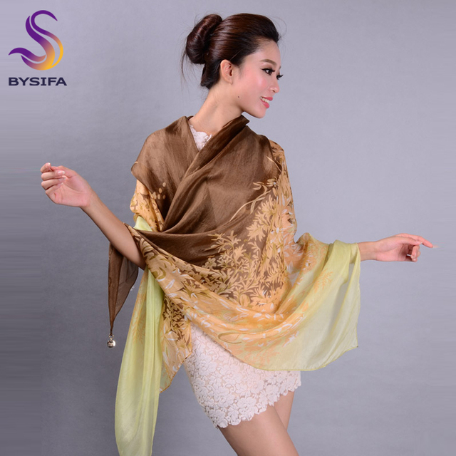Women Silk Scarf Summer Beach Shawl New Design Spring Autumn Ladies Coffee Beige Long Scarves Wraps Large Size Pure Silk Scarf
