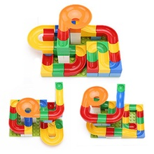 54Pcs DIY Construction Marble Race Run Maze Balls Track Kids Children Gaming Building Blocks Toys Set