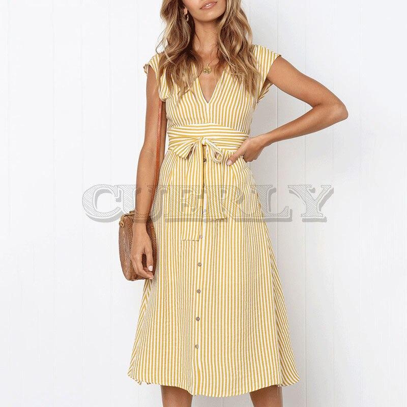 Cuerly printemps eté décontracté robe rayée femmes col en v robe à noeud frontal à streetwear femmes vestidos L5