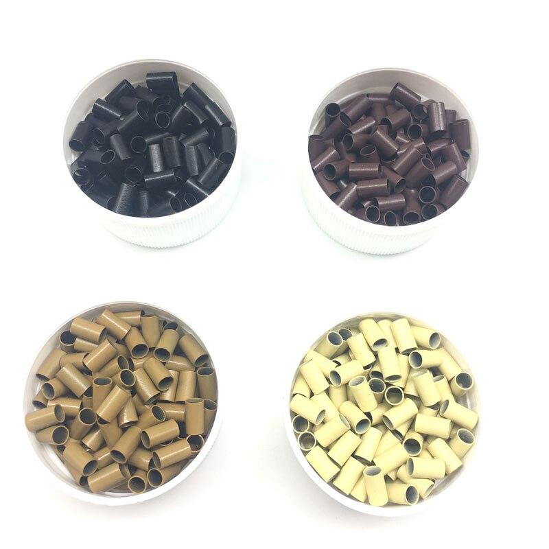 Micro perles de cuivre droites 10000 pièces 343060mm perles de Tube de cuivre noir brun blond Micro anneaux doublés pour Extensions de cheveux