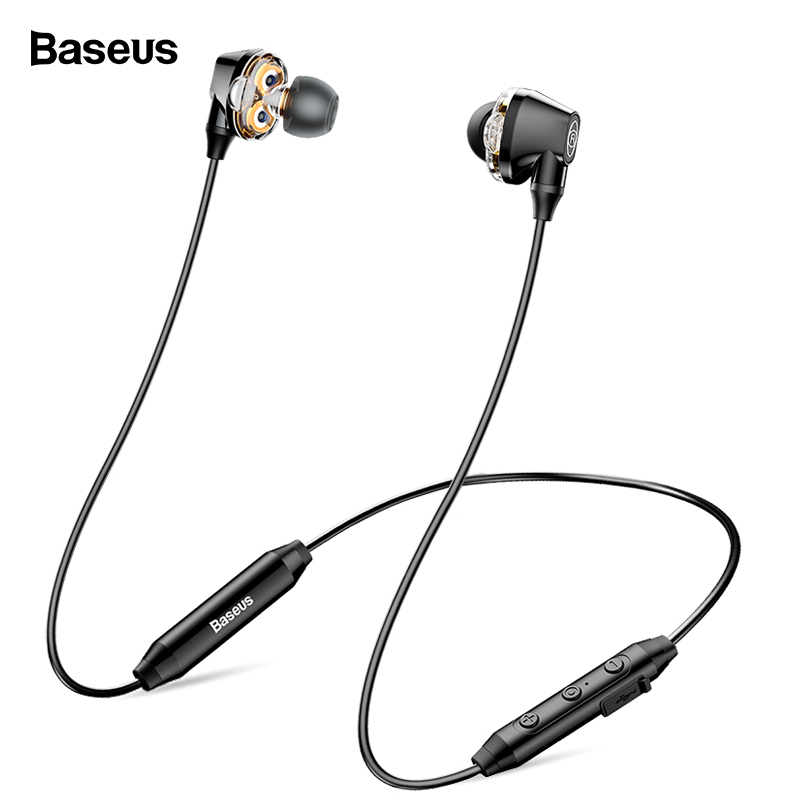 Baseus S10 Bluetooth Earphone Wireless Headphone For Phone IPX5 Dual Driver Headset With Mic Sport Earbuds Casque fone de ouvido langsdom l5 wireless earphones with mic sport bluetooth headphones bluetooth earphone for xiaomi phone fone de ouvido headset