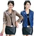 2015 Spring And Autumn PU Leather Motorcycle Jacket Large Size 4XL Women Short Paragraph Slim Coat casaco feminino