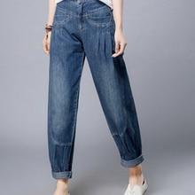 Шаровары брюки для женщин размера плюс хлопок джинсы деним осень весна шаровары Повседневные Высокая талия Капри женские брюки lyq0601