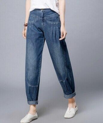 Bloomer pants for woman plus size cotton   jeans   denim autumn spring harem pants casual high waist capris female trousers lyq0601