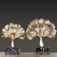 Retro Ginkgo Leaf Furnishings Home Decoration Creative Living Room Modern Office Cabinets Ornaments Statue Decor Crafts Display