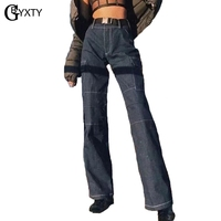GBYXTY Vintage High Waist Loose Cargo Pants Women Jeans New Autumn Pockets Belt Boyfriend Jeans Denim Pants Trousers ZA1071