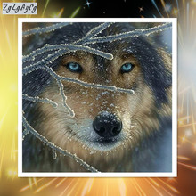 Full  Diamond 5D DIY Diamond Painting wolf in the snow Embroidery Cross Stitch Rhinestone Mosaic Painting Home Decor