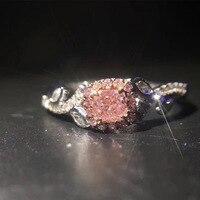 ANI 18 К из белого золота (AU750) для женщин обручальное кольцо Сертифицированный 0,22 карат вырезать прямоугольник настоящий розовый бриллиант Об