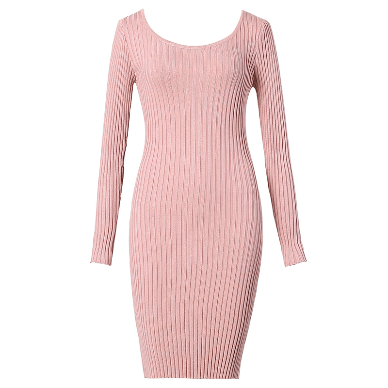 Knitted Sweater Dress For Woman Long Sleeve Round Neck Body Casual Vintage Vestidos De Festa 2018 Winter Spring Dresses  WS5352Z knitted winter dress mini dresses for women tunic vestidos round neck long sleeve loose casual basic ws5018u