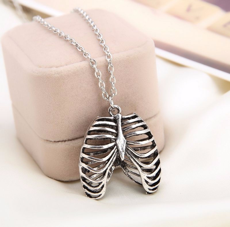 Movie Jewelry Series Necklace Human Thoracic Anatomy Silver Color