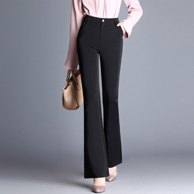 Novo Longa Das Mulheres Calças Retas Incendiar Calças de Cintura Alta Elástico Preto Vermelho Marrom Cor Sólida Fêmea Magro Calças Plus Size 6XL