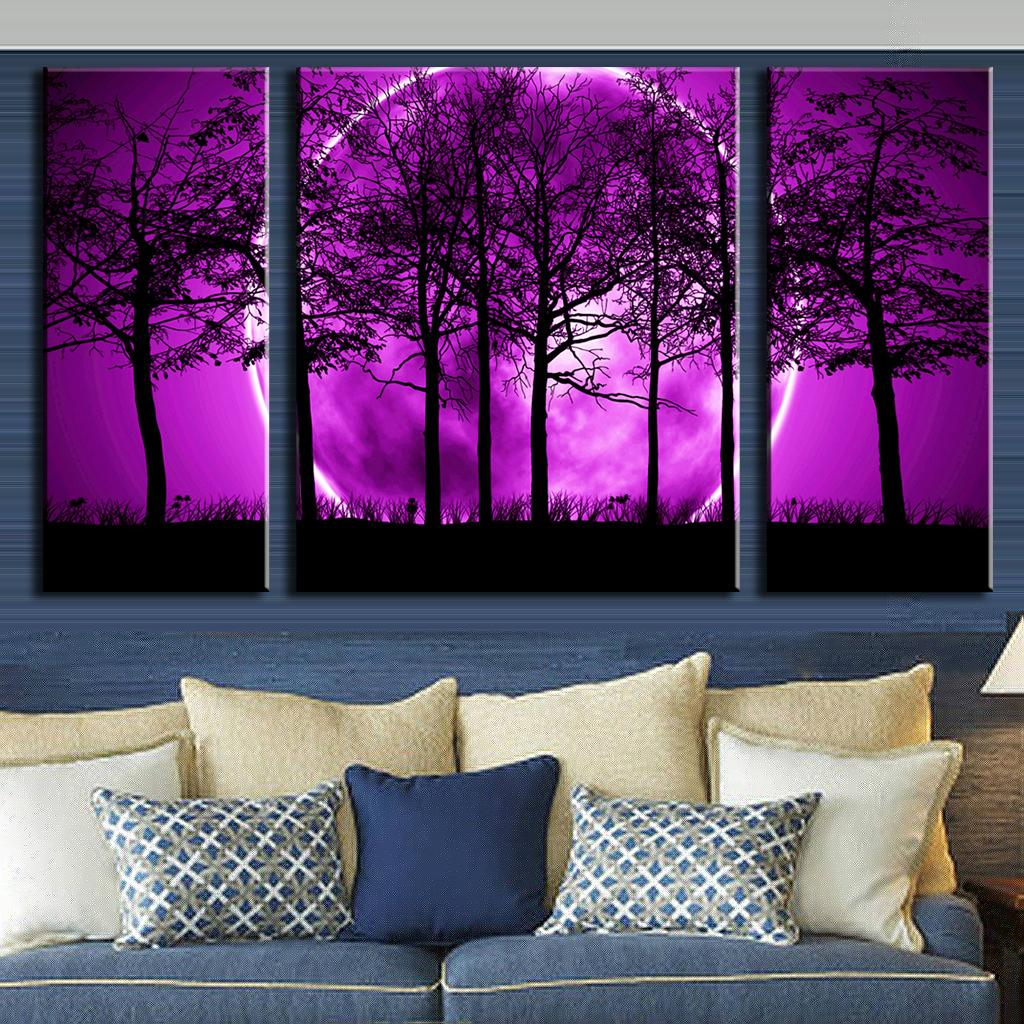 3 pcs set abstract canvas art purple land black trees canvas wall picture decoration home modern. Black Bedroom Furniture Sets. Home Design Ideas