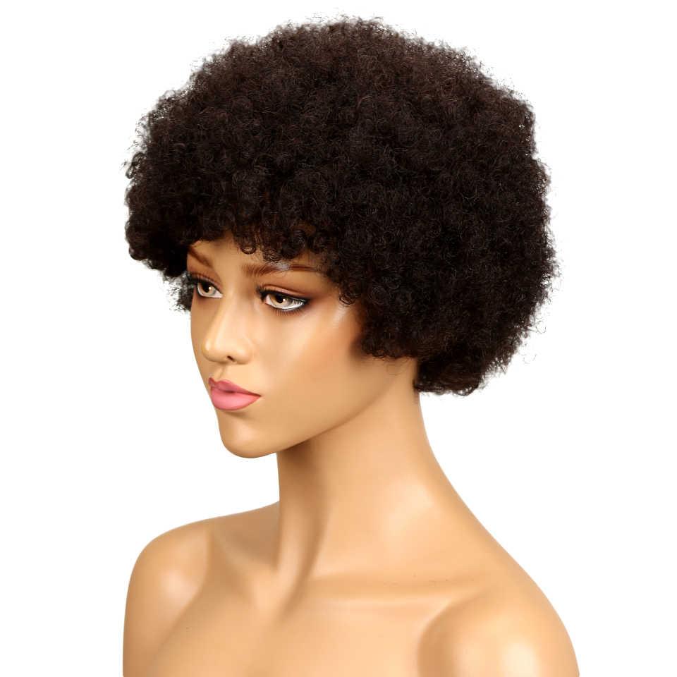 Гладкий афро Кинди вьющиеся волосы человека парик короткие парики человеческих волос для женщин парики без тесьмы темно-коричневый красный парик Бесплатная доставка