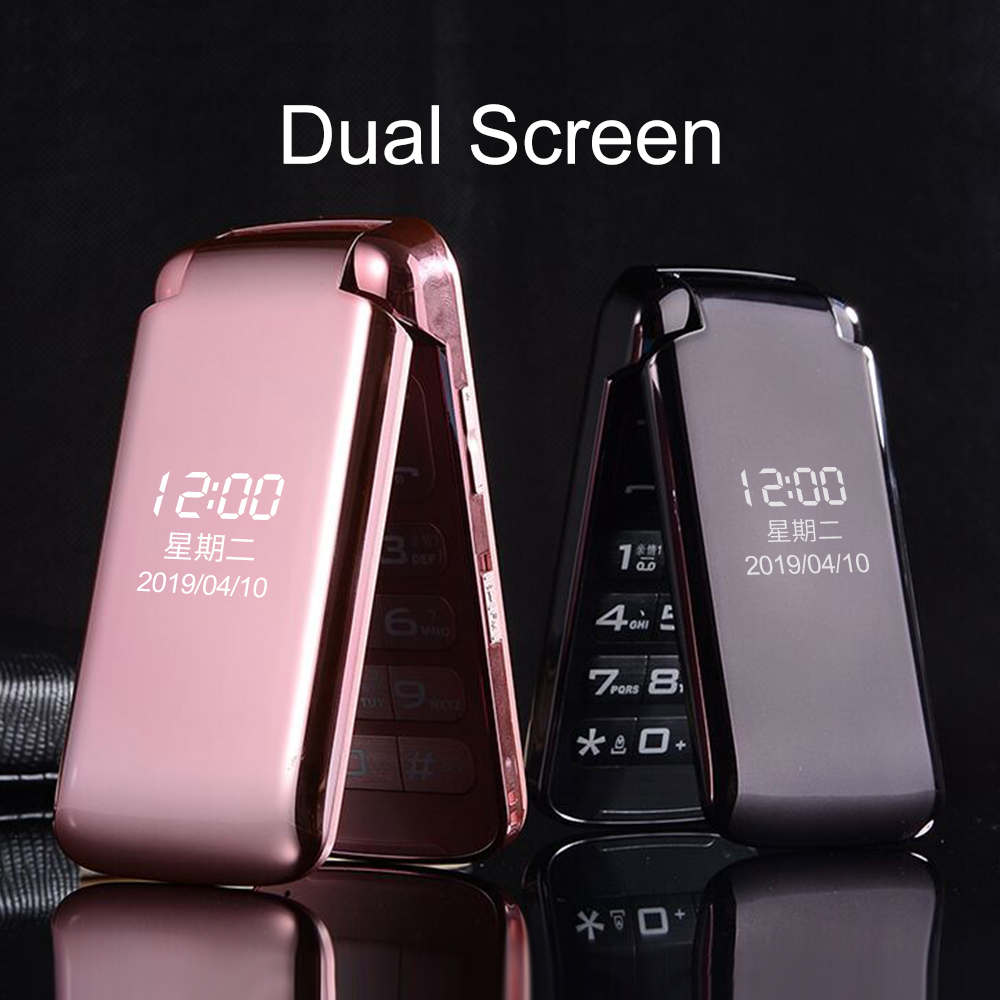 Unlock Dual Display Flip Simple Senior Mobile Phone No Camera SOS Fast Dailing Voice Changer Big Russian Key Torch Super Light