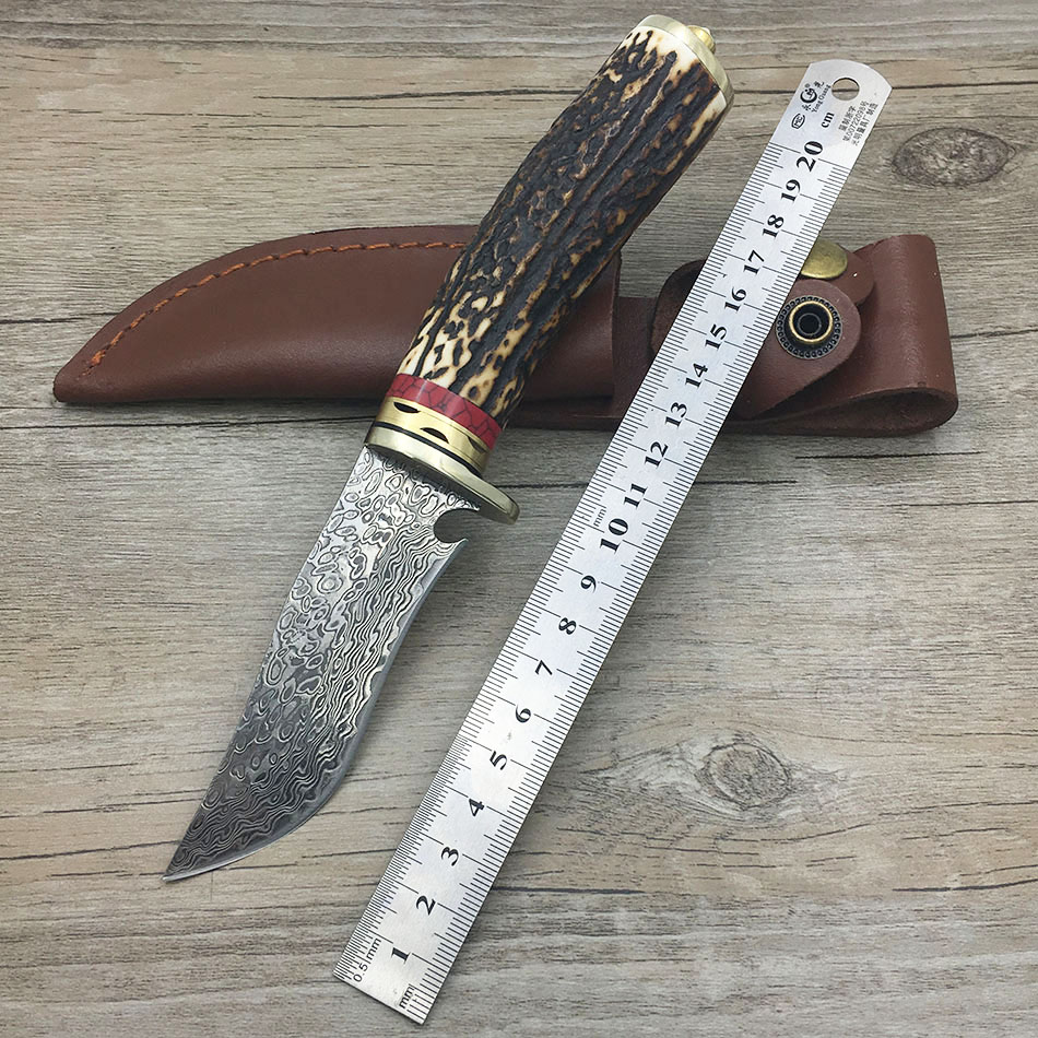 damascus steel knife blade hunting knife Antlers horn handle handmade damascus forged steel knife gift knife damascus handle hunting knife