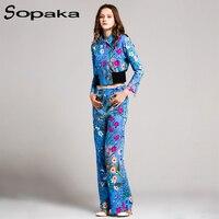Fashion 2017 Autumn Suit Set Women S Elegant Sweet Floral Flower Print Long Sleeve Short Jacket