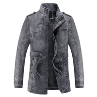 2016 Jacket Men Slim Warm Mens Washed Leather Motorcycle Biker Jackets Standing Collar Coat Jaqueta Masculina
